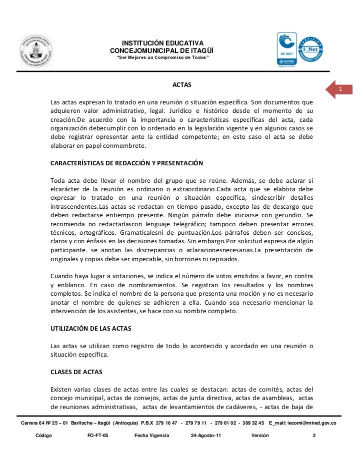 Plantilla De Actas