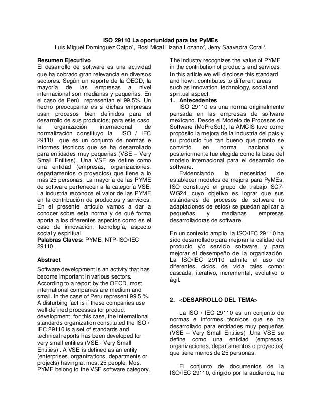 ISO 29110 La oportunidad para las PyMEs Luis Miguel Dominguez Catpo1, Rosi Mical Lizana Lozano2, Jerry Saavedra Coral3. Re...