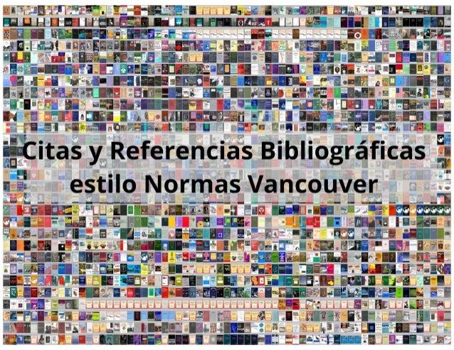 Plantilla de citas y referencias bibliográficas según normas vancouver