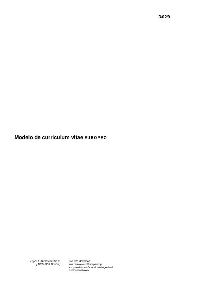 Página 1 - Curriculum vitae de [ APELLIDOS, Nombre ] Para más información: www.cedefop.eu.int/transparency/ europa.eu.int/...
