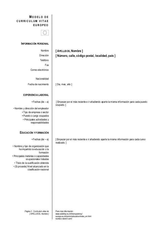 Plantilla de curriculum vitae europeo Slide 2