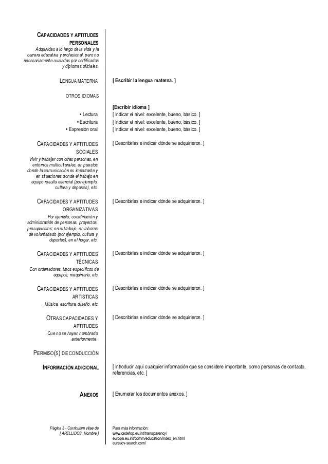 Plantilla de curriculum vitae europeo Slide 3
