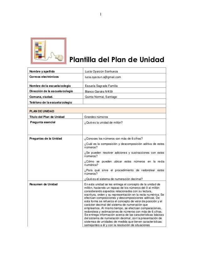 1                            Plantilla del Plan de UnidadNombre y apellido                 Lucía Oyarzún SanhuezaCorreos e...