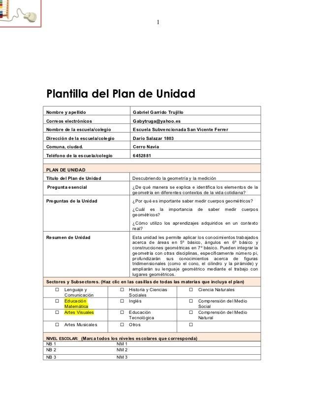1Plantilla del Plan de UnidadNombre y apellido                         Gabriel Garrido TrujilloCorreos electrónicos       ...