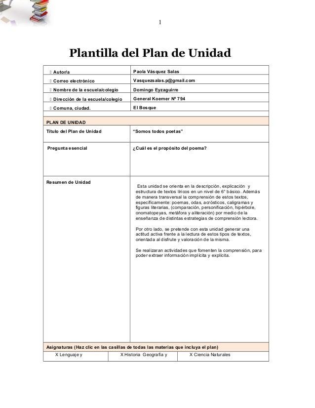 1  Plantilla del Plan de Unidad   Autor/a Paola Vásquez Salas   Correo electrónico Vasquezsalas.p@gmail.com   Nombre de...