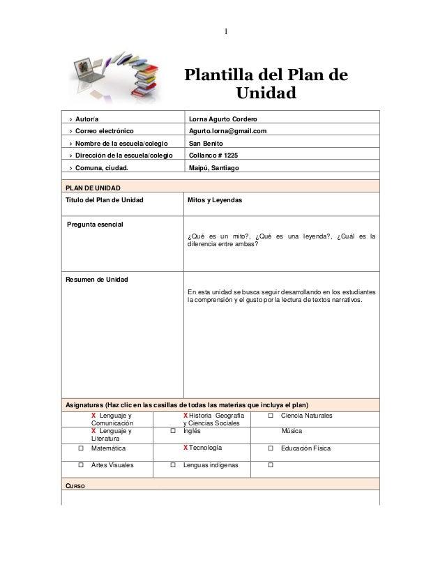 1 Plantilla del Plan de Unidad  Autor/a Lorna Agurto Cordero  Correo electrónico Agurto.lorna@gmail.com  Nombre de la e...