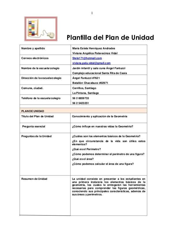 1                                  Plantilla del Plan de UnidadNombre y apellido                  María Estela Henríquez A...