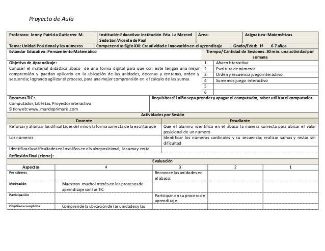 Proyecto de Aula Profesora: Jenny Patricia Gutierrez M. InstituciónEducativa: Institución Edu. La Merced Sede San Vicente ...