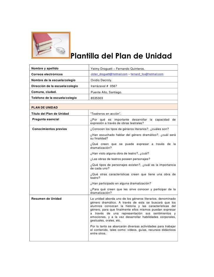 Plantilla del Plan de UnidadNombre y apellido                 Yeimy Droguett – Fernando Quinteros.Correos electrónicos    ...