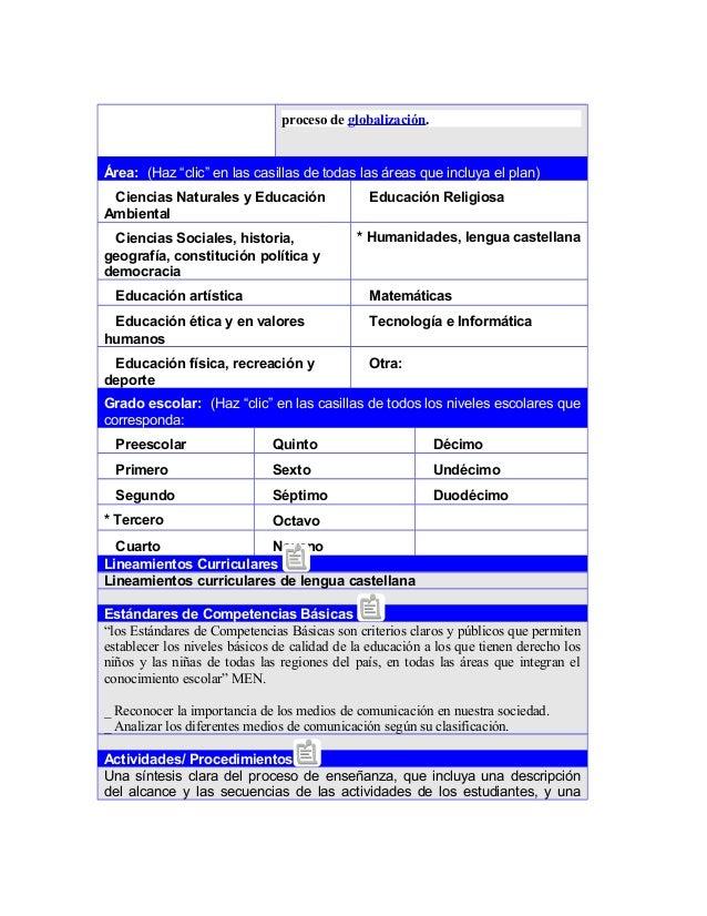 """proceso de globalización. Área: (Haz """"clic"""" en las casillas de todas las áreas que incluya el plan) Ciencias Naturales y E..."""