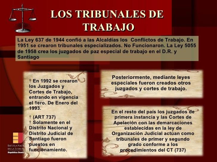 LOS TRIBUNALES DE  TRABAJO La Ley 637 de 1944 confió a las Alcaldías los  Conflictos de Trabajo. En 1951 se crearon tribun...