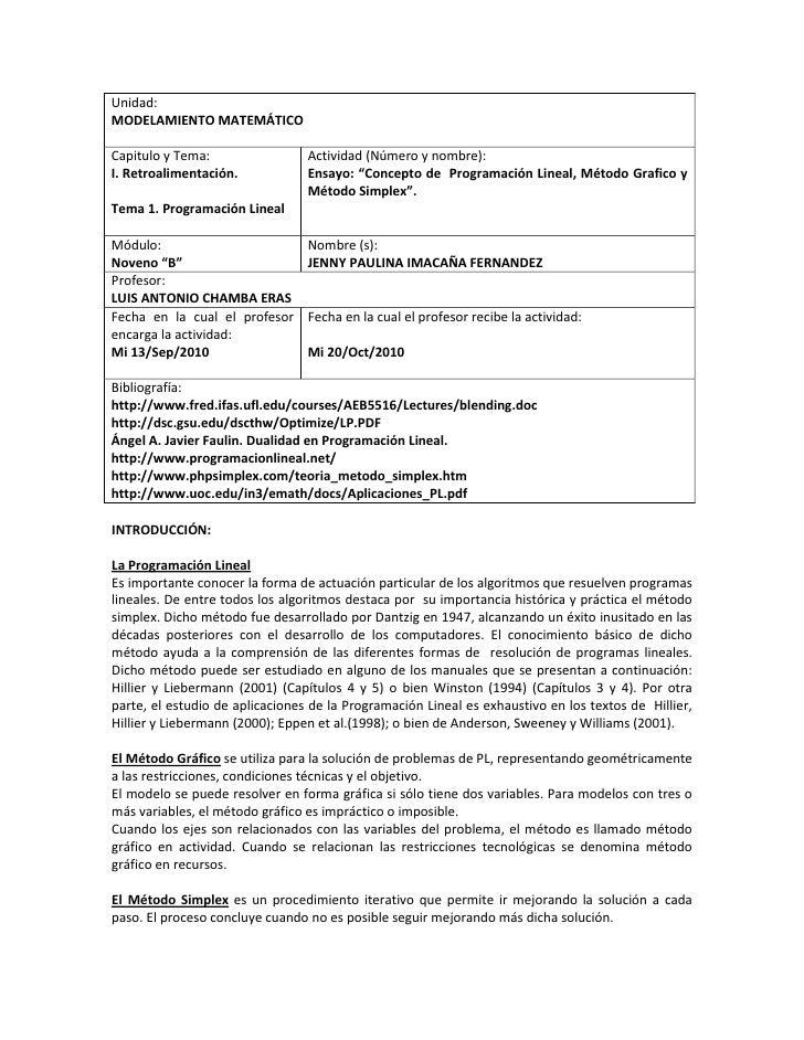 Unidad: MODELAMIENTO MATEMÁTICO  Capitulo y Tema:                 Actividad (Número y nombre): I. Retroalimentación.      ...
