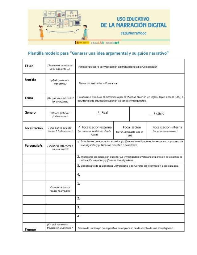 Plantilla Idea Argumental - Reto 2: Diseño de la Narración Digital: E…