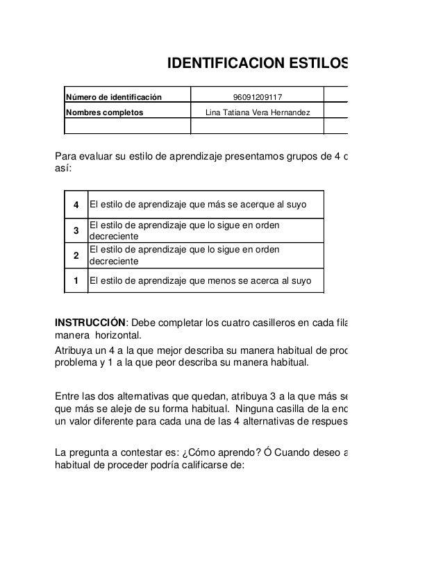 IDENTIFICACION ESTILOS DE APRENDI Número de identificación Nombres completos  96091209117  Programa de formación  Lina Tat...