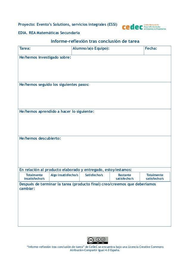 Proyecto: Evento's Solutions, servicios integrales (ESSI) EDIA. REA Matemáticas Secundaria Informe-reflexión tras conclusi...