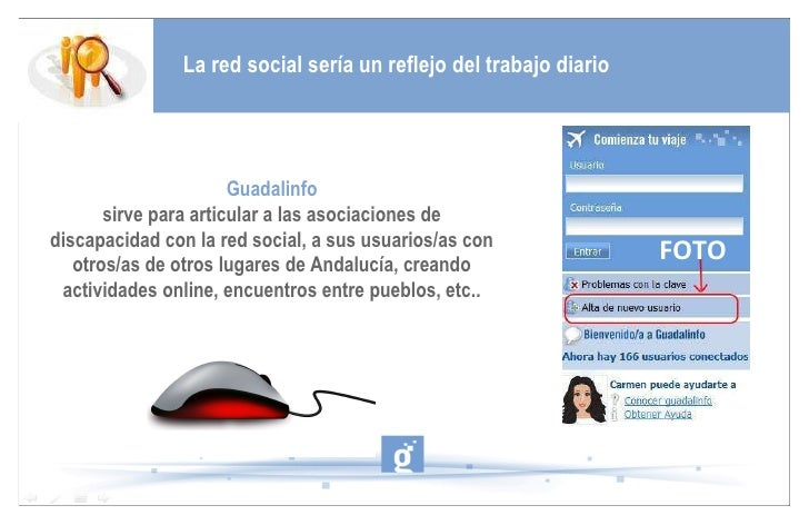 La red social sería un reflejo del trabajo diario Guadalinfo   sirve para articular a las asociaciones de discapacidad con...