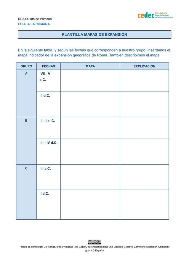 REA Quinto de Primaria EDIA: A LA ROMANA PLANTILLA MAPAS DE EXPANSIÓN En la siguiente tabla, y según las fechas que corres...