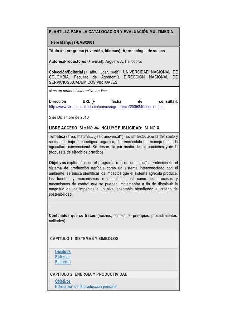 PLANTILLA PARA LA CATALOGACIÓN Y EVALUACIÓN MULTIMEDIAPere Marquès-UAB/2001Título del programa(+ versión, idiomas): Agr...