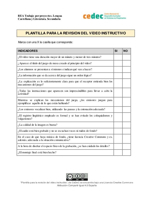 Plantilla para la revisión de un video instructivo