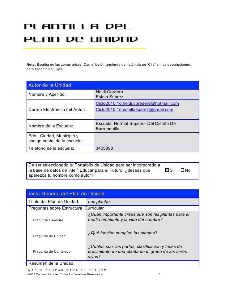 """Plantilla delPlan de UnidadNota: Escriba en las zonas grises. Con el botón izquierdo del ratón da un """"Clic"""" en las descrip..."""