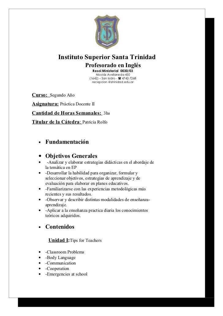Instituto Superior Santa Trinidad                             Profesorado en Inglés                                  Resol...