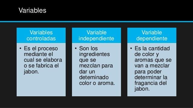 Variables   Variables            Variable           Variable  controladas        independiente       dependiente• Es el pr...