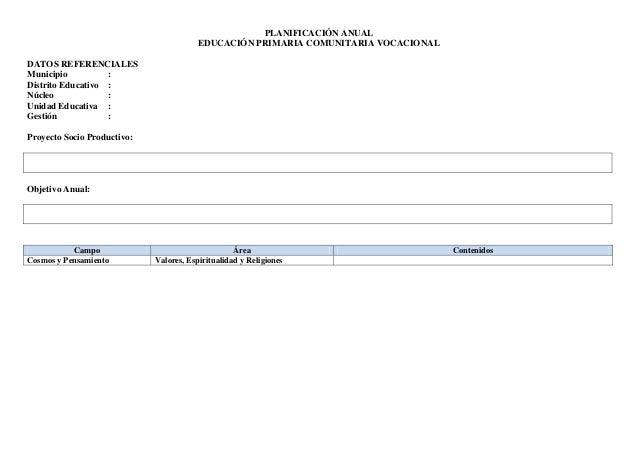 PLANIFICACIÓN ANUAL EDUCACIÓN PRIMARIA COMUNITARIA VOCACIONAL DATOS REFERENCIALES Municipio : Distrito Educativo : Núcleo ...
