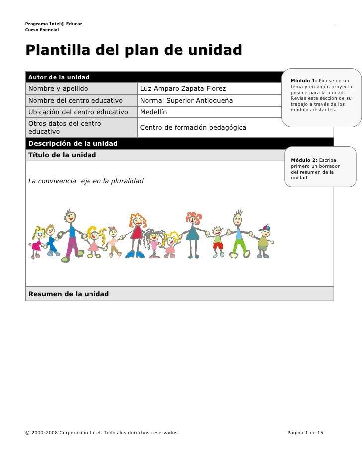 Programa Intel® Educar Curso Esencial     Plantilla del plan de unidad  Autor de la unidad                                ...