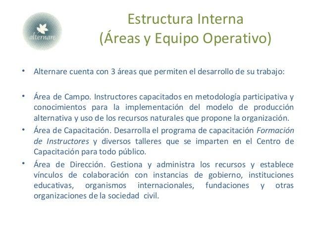 Estructura Interna (Áreas y Equipo Operativo) • Alternare cuenta con 3 áreas que permiten el desarrollo de su trabajo: • Á...