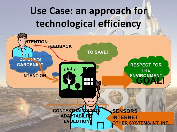 Use Case: an approach for     technological efficiency  INTENTION           FEEDBACK                         TO SAVE! DO O...