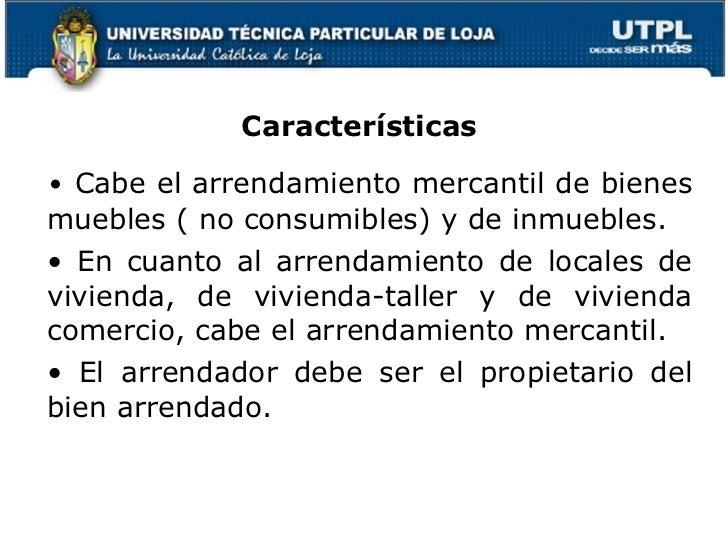 Utpl legislaci n mercantil monetaria y bancaria ii for Arrendamiento bienes muebles