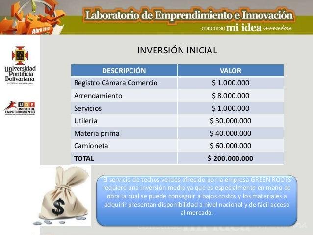 INVERSIÓN INICIAL            DESCRIPCIÓN                               VALORRegistro Cámara Comercio                      ...