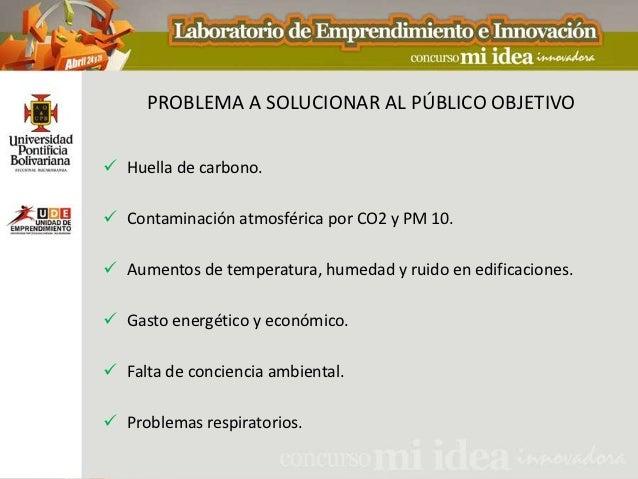 PROBLEMA A SOLUCIONAR AL PÚBLICO OBJETIVO Huella de carbono. Contaminación atmosférica por CO2 y PM 10. Aumentos de tem...