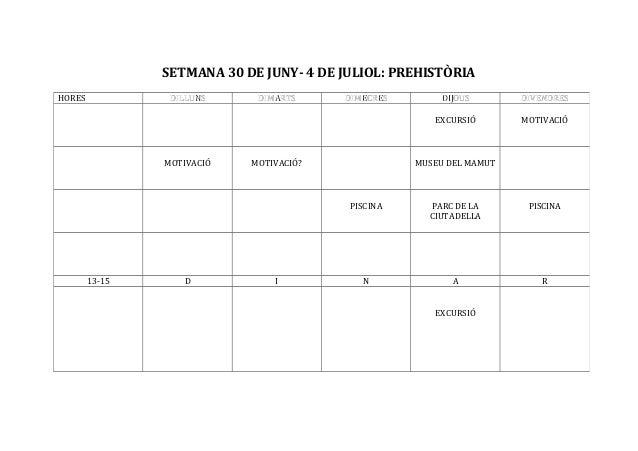 SETMANA 30 DE JUNY- 4 DE JULIOL: PREHISTÒRIA HORES DILLUNSDILLUNS DIMARTSDIMARTS DIMECRESDIMECRES DIJOUSDIJOUS DIVENDRESDI...