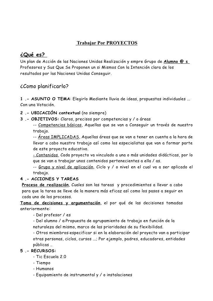 Trabajar Por PROYECTOS  ¿Qué es? Un plan de Acción de las Naciones Unidas Realización y empre Grupo de Alumno @ s Profesor...