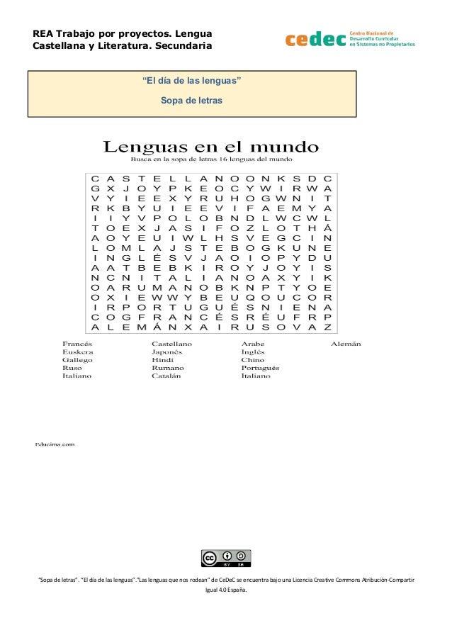 """REA Trabajo por proyectos. Lengua Castellana y Literatura. Secundaria """"El día de las lenguas"""" Sopa de letras """"Sopa de letr..."""