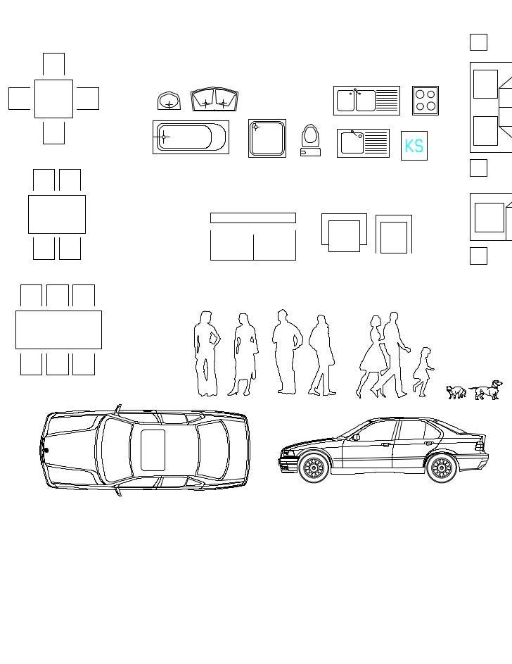Plantillas personas muebles autos arboles 1 50 for Carros para planos arquitectonicos