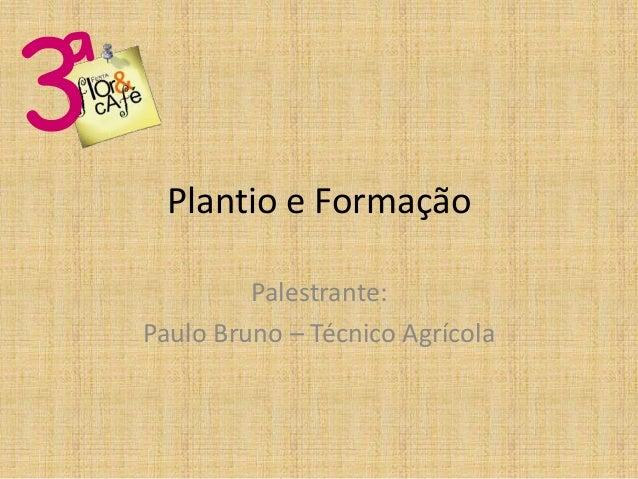 Plantio e Formação         Palestrante:Paulo Bruno – Técnico Agrícola