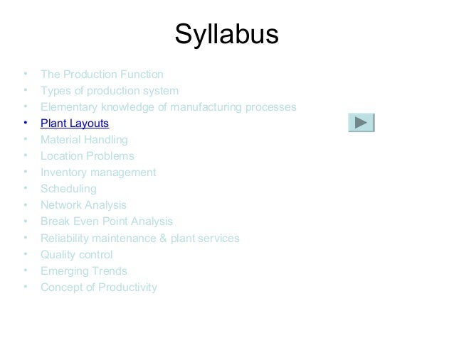 • The Production Function • Types of production system • Elementary knowledge of manufacturing processes • Plant Layouts •...