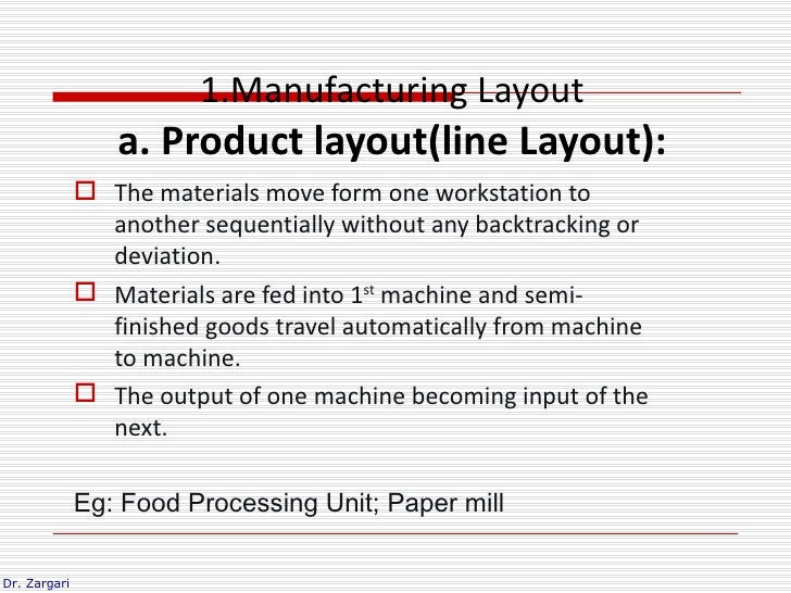1.Manufacturing Layout                 a. Product layout(line Layout):               The materials move form one workstat...