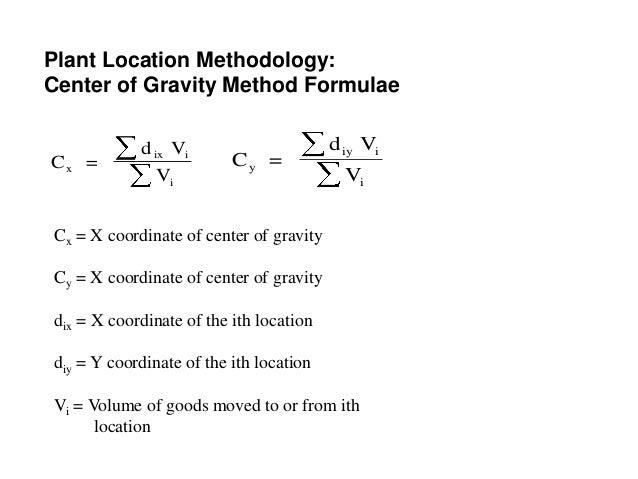 center of gravity formula pdf