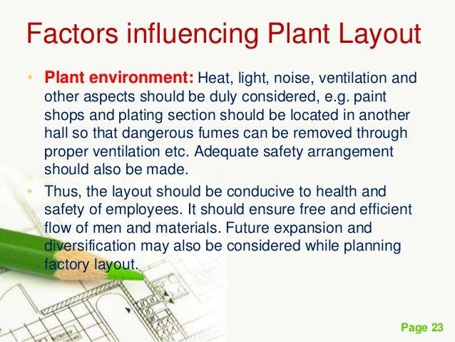 Factors influencing plant layouts