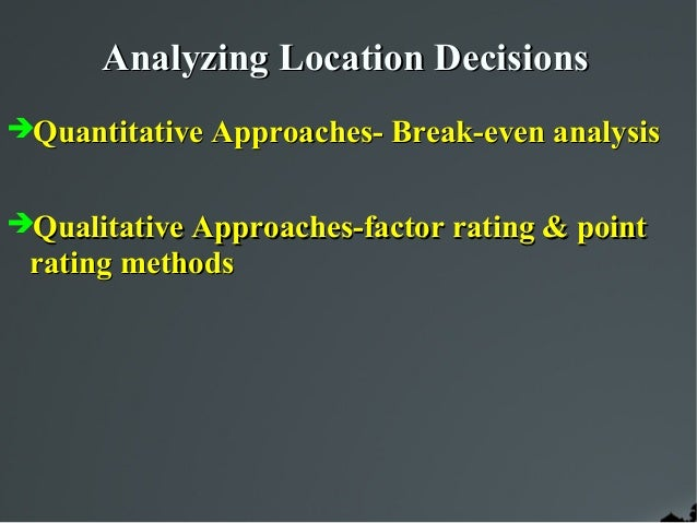 qualitative factors affecting location decision Incident factors in facility location: an application in the colombian biofuel sector  facility location is a high-impact decision affecting costs and customer.