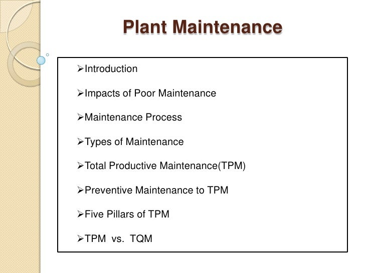 types of plant maintenance
