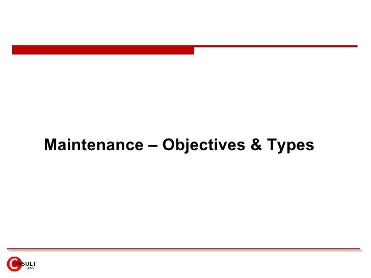 objectives of plant maintenance