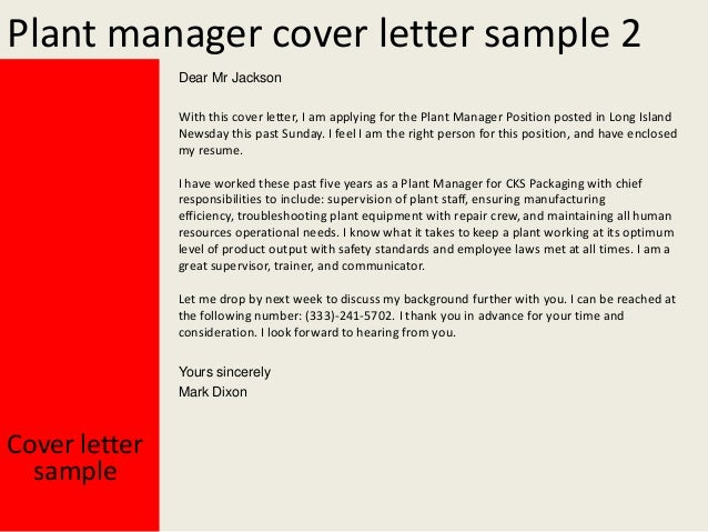 Captivating Cover Letter Sample Yours Sincerely Mark Dixon; 3. Plant Manager ...