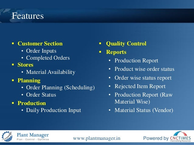 Plant Manager Production Planning and Control