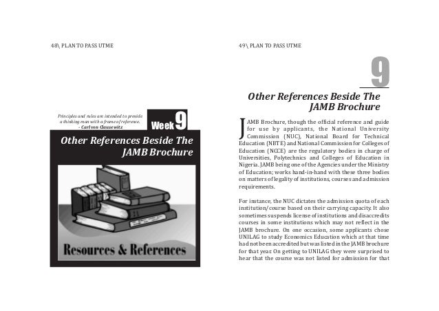 Other References Beside The JAMB Brochure Week9 Other References Beside The JAMB Brochure 9 AMB Brochure, though the offic...