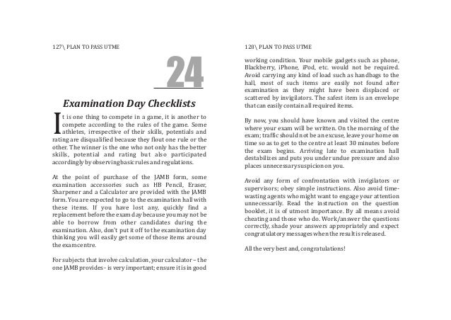 24 Examination Day Checklists t is one thing to compete in a game, it is another to compete according to the rules of the ...