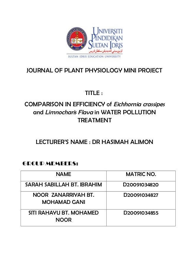 JOURNAL OF PLANT PHYSIOLOGY MINI PROJECT TITLE : COMPARISON IN EFFICIENCY of Eichhornia crassipes and Limnocharis Flava in...